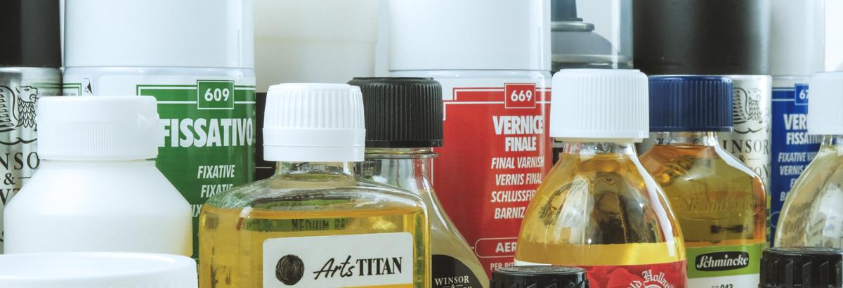 Médiums / barnices / gessos / resinas / diluyentes / pigmentos…