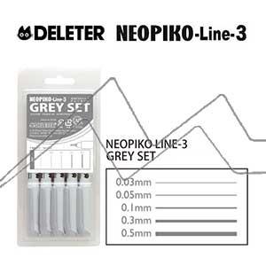 DELETER NEOPIKO LINE-3 SET DE 5 ROTULADORES CALIBRADOS GRISES