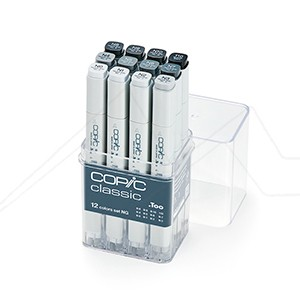 COPIC MARKER ESTUCHE CON 12 ROTULADORES GRISES NEUTROS - NEUTRAL GRAYS