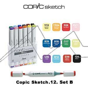 COPIC SKETCH ESTUCHE CON 12 ROTULADORES COLORES SURTIDOS. SET B