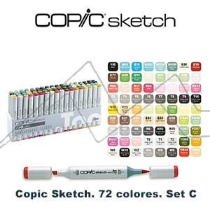 COPIC SKETCH ESTUCHE CON 72 ROTULADORES COLORES SURTIDOS. SET C