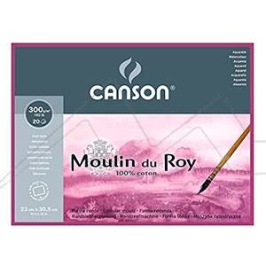 CANSON BLOC MOULIN DU ROY ACUARELA 300 GRS. ENCOLADO 4 LADOS 20 HOJAS