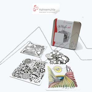 HAHNEMÜHLE YOU TANGLE ART - CAJA DE METAL CON 25 TARJETAS DE PAPEL PARA ZENTANGLE
