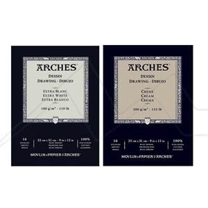 ARCHES BLOC DIBUJO 16 HOJAS EXTRA BLANCO 180 GRS Y CREMA 200 GRS