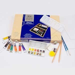 WINSOR & NEWTON ART BOX CAJA DE MADERA ACUARELA COTMAN 8 TUBOS DE 8 ML + ACCESORIOS