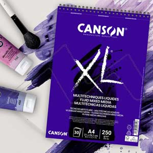 CANSON XL BLOC MULTITÉCNICAS LÍQUIDAS - FLUID MIXED MEDIA 250G