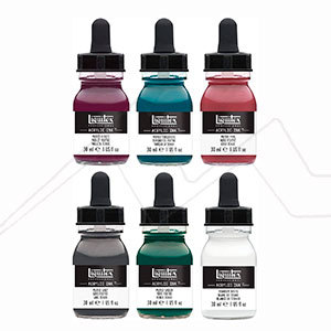 LIQUITEX ACRYLIC INK SET 5 MUTED COLLECTION + BLANCO